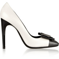 Bottega Veneta - Bow-embellished color-block leather pumps