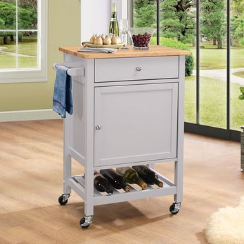 Acme 98300 Hoogzen gray and natural wood and metal accents kitchen island cart