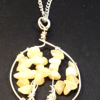 White Tree of Life Gemstone Wire Wrapped Necklace