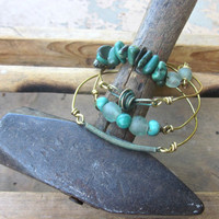 Industrial revolution Mixed Media Bangle Stack with Turquoise and Roman Glass
