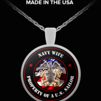 Military - Navy Wife - Property of a U.S. Sailor - Necklace