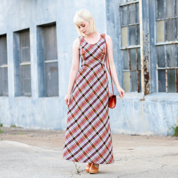 vintage plaid dress / 60s dress small 60s dress xs / 1960s dress / 60s maxi dress / vintage dress women / vintage dress xs plaid maxi dress