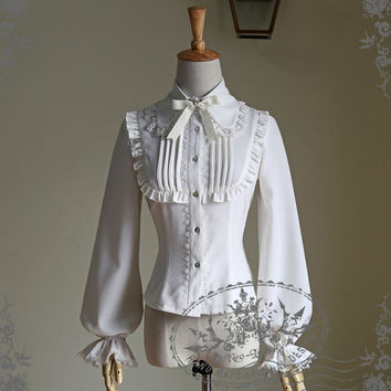 Scented Corsage, Classic Lolita Lacing Up Back Long Sleeves Blouse*3colors Instant Shipping
