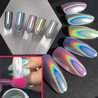 Laser Mirror Powder Rainbow Gradient Dust Glitter Chrome Colorful Unicorn Holographic Powder Nail Art