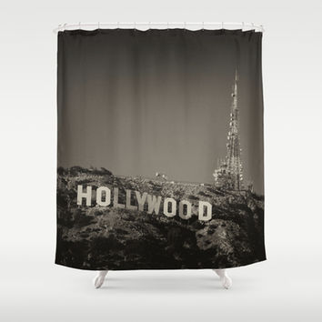 Vintage Hollywood sign Shower Curtain by Claude Gariepy