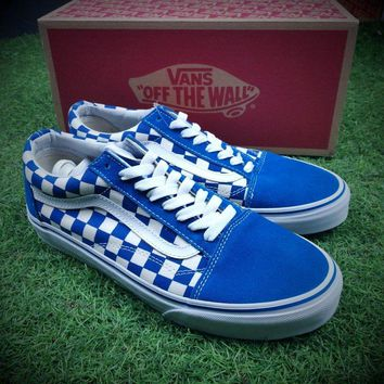 Best Online Sale Vans Old Skool Primary Check Blue White Sneakers Training Shoes VN0A38G1P0S