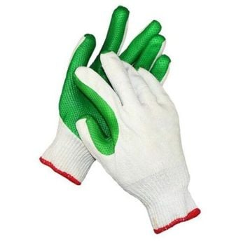 one pair Work Universal Protection Cotton Yarn Glue Gloves 24cm  green