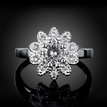Wedding rings for women silver color jewelry luxury rings Engagement Flower AAA zirconia Accessories CZ Stone