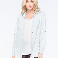 Full Tilt Boyfriend Womens Denim Shirt Light Blue  In Sizes