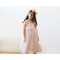 Pink tie straps flower girl tulle dress 5004