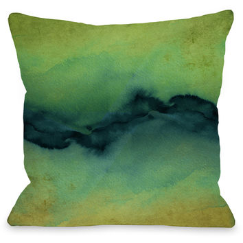 """The Vibe"" Outdoor Throw Pillow by Julia Di Sano, Golden Yellow/Teal, 16""x16"""