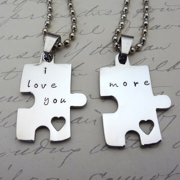 Puzzle Piece Couples Necklace  Set  Hand Stamped by RoseCreekToo
