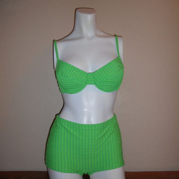 Vintage 80's 90's NEON GREEN two piece SWIMSUIT    grunge