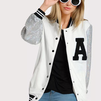 A Patch Sequin Sleeve Stripe Trim Baseball Jacket