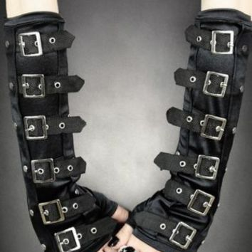 Restyle Black arm warmers with Buckles gloves steampunk gothic