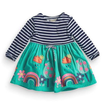 Brand Autumn Striped Baby Girls Dress Appliques Rainbows Cloud Raindrops Long Sleeve Kids Patchwork Dresses Cotton Girls Clothes