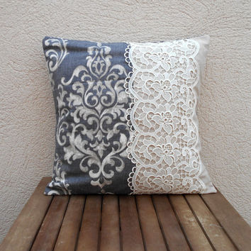 Lace pillow cover, throw pillow, handmade from MyLacyBoutique on