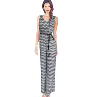 Womens Elegant New Floral Flower Printed V Neck Chiffon Casual Sleeveless Loose Jumpsuit Romper