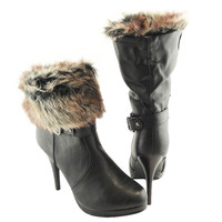 Womens Ankle Boots Faux Fur Foldover Cuff High Heels Black SZ