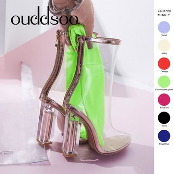ODS Pvc Transparent Boots Sexy For Women Heels Gladiator Sandals Boots Womens Kim Kardashian Woman Shoes Clear Chunky Mujer 9 10