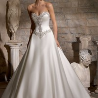 Mori Lee 2703 Basque Waist Satin Wedding Dress