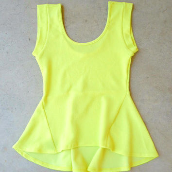 Lime Flared Peplum Top [7039] - $32.00 : Feminine, Bohemian, & Vintage Inspired Clothing at Affordable Prices, deloom