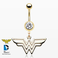 Golden Classic Wonder Woman Belly Button Ring