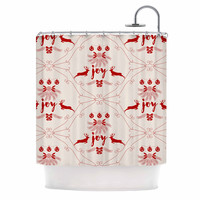"Famenxt ""Christmas Joy Pattern"" Red Beige Digital Shower Curtain"