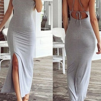 Gray Backless Bodycon Maxi Dress