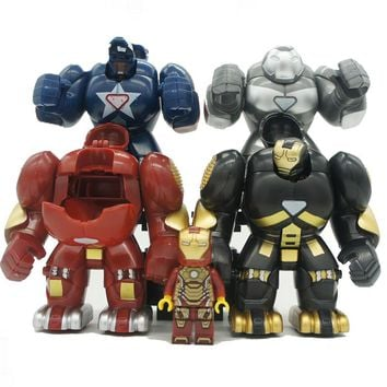 4Sets/Lot Super Heroes Marvel Avengers IronMan Hulkbusters Model Figure Blocks Compatible Legoe Building Brick Toys For Children
