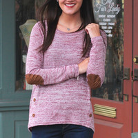 Suede Elbow Patch Knit Sweater {Burgundy Mix}