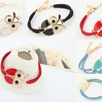 Korean New women ladies Retro Solid Wild Big eyes  Owl Bracelets  red black white blue DIY
