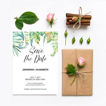 Tropical wedding save the date invitation, Tropical wedding invitation, Simple wedding, Green wedding invitation, Save the date wedding card