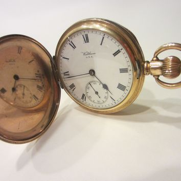 Waltham Hunter Pocket Watch Gold Plated Marquis Triple Case Moon Face 15 Jewels