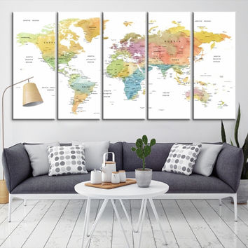 52053 - Large Wall Art World Map Canvas Print- Custom World Map Push Pin Wall Art- Custom World Map Canvas Poster Print- Personalized Wall Art