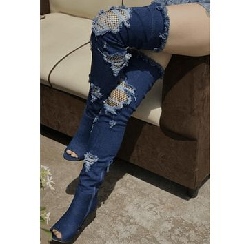 Peep Toe High Heel Denim Hole Over Knee Boots