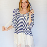 Hooded Striped Tunic with Lace : Cute Aprons - Cute Dresses - Cute Maxi Skirts - Cute Gifts - Daisy Shoppe