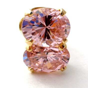 14K Gold Pink Ice CZ Earrings Pierced
