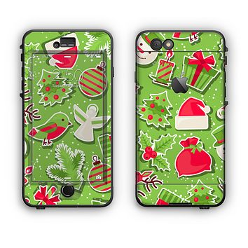 The Red and Green Christmas Icons Apple iPhone 6 Plus LifeProof Nuud Case Skin Set