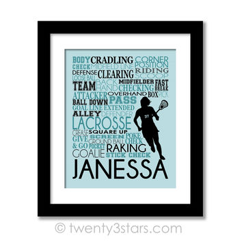 Girl's Lacrosse Typography Wall Art - Choose Any Colors - twenty3stars