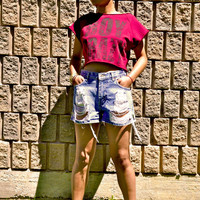 High-Waist Vintage Distressed Studded Shorts