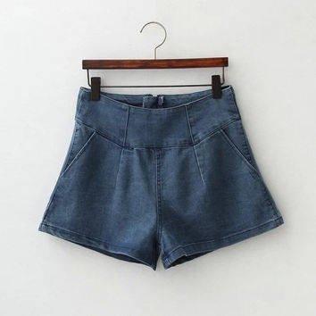 Women's Fashion Shaped Denim Shorts [4919624004]