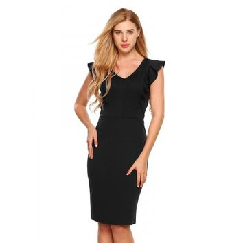 Sleeveless V-neck Package Hip Ruffles Pencil Dress