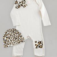 Baby Ivory Leopard Romper with matching Cap