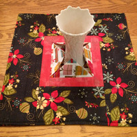 Christmas Quilted Centerpiece, Extra Large Candle Mat, Black, Red and White Mini Quilt, Hostess Gift, Modern Table Decor, Quiltsy Handmade