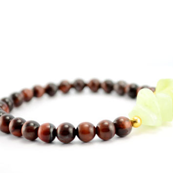 Tiger Eye Beaded Bracelet || New Jade Chips, Gold accents, Light Green, Brown, Semi Precious Stones, Bohemian, Gypsy