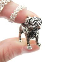 Realistic Life Like Pug Shaped Animal Pendant Necklace in Shiny Silver | Jewelry for Dog Lovers
