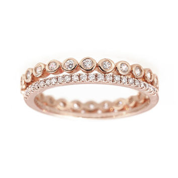 Unique Diamond Eternity Ring. MicroPave Eternity Wedding Band with Diamond Bubbles Eternity Ring / Eternity Dainty Diamond Bands