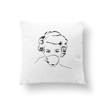 Morning Look Pillow, Morining Coffee, Hair Rollers, Cushion Cover, Fashion Pillow, Decorative Pillow, Throw Pillow, Girl Art, Fashion Chic