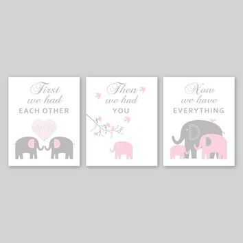 Pink Grey Elephant Nursery Decor Pictures Baby Girl Nursery Art Print First We Had Each Other Kid Wall Art